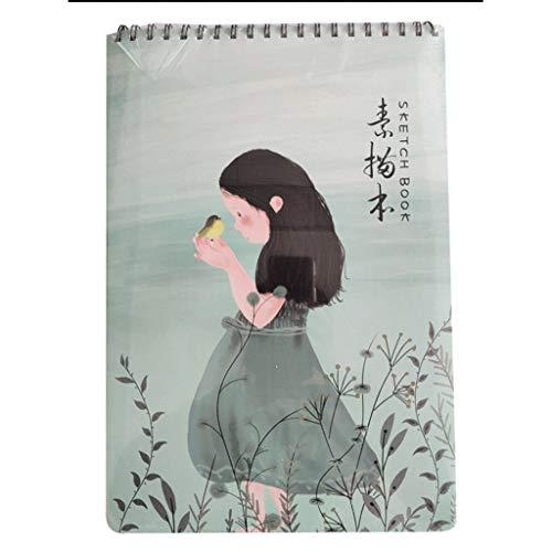 Cuaderno clásico Prima de libro del bosquejo Conjunto, de espiral, papel de dibujo libre de ácido, ideal for niños, adolescentes y AdultsTear Páginas resistentes for profesionales ( Color : 8K girl )