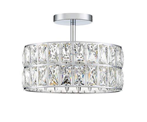 2 Light 10' K9 Crystal Industrial Modern Classic Farmhouse semi Flush Mount Ceiling Lighting with Chrome