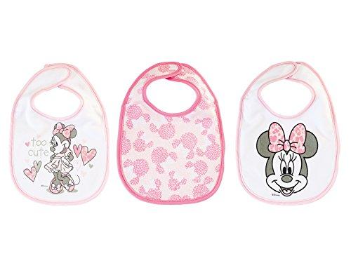 lulabi Disney Minnie, set van 3 slabbetjes, katoen, 19 x 17 cm, 0 maanden, roze