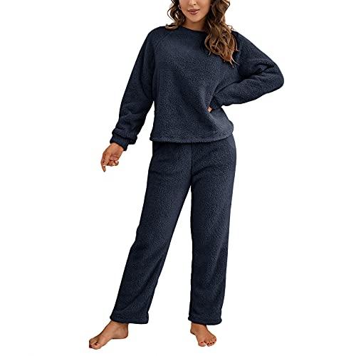 Conjuntos de Pijamas de Felpa para Mujer Moda Fuzzy Soft Sweatsuit Manga Larga Fleece Cálido Invierno Sudadera Tops y Pantalones Ropa de Dormir Loungewear (Azul Marino, Medium)