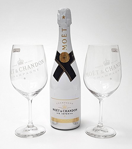 Moet & Chandon Ice Imperial Set - Champagner 0,75l (12{4c31a201fc0e891dffedcdbe446bb199d54f27a4895b1d4f213e743bcaaabd9b} Vol) + 2x Gläser