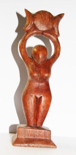 Holzfigur Göttin mit dreifachem Mond, Altarfigur, 20 cm