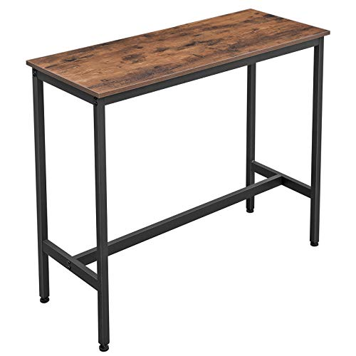 VASAGLE ALINERU Bar Table, Narrow Rectangular Bar Table, Kitchen Table, Pub Dining High Table, Sturdy Metal Frame, 39.4 x 15.7 x 35.4 Inches, Easy Assembly, Industrial Design, Rustic Brown ULBT10X