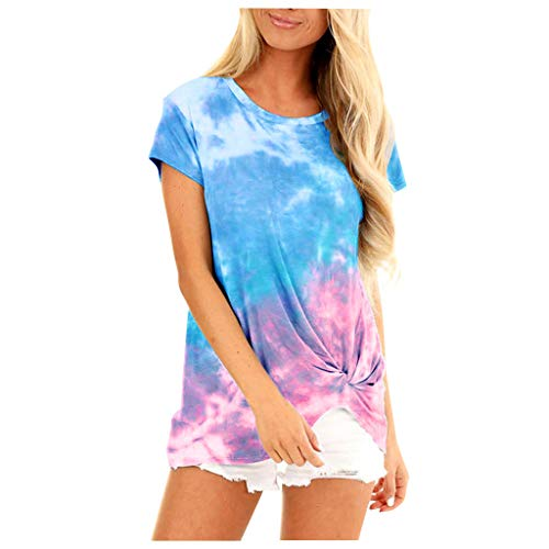 Hffan Frauen Plus Size Loose Kurzarm Pull-Die Print O-Neck Pullover Tops Shirt