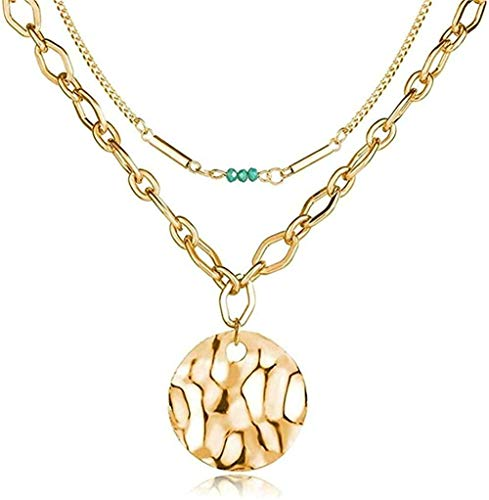 huangxuanchen co.,ltd Collar Vintage Collar de Perlas Collar de múltiples Capas para Mujer Colgantes de Color Dorado Collares Largos B Joyería