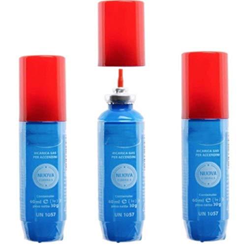 DOBO® Set 3 stuks navulfles gas butaan voor ATOMIC aanstekers, 60 ml met navulverpakking voor aanstekers, kleine flessen