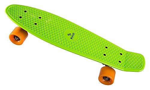 PiNAO Sports - Retro-Skateboard (Grün) für Kinder, Jugendliche & Erwachsene, Vintage-Skateboard (11041) [PP-Deck mit extra Verstärkungan der Unterseite, 60 x 45 mm PU-Rollen (Härte 78A),