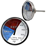 BoyoTec BBQ Thermometer Gauge 3 1/8 Inch Charcoal Grill Pit Smoker Temp Gauge, Grill Thermometer with Fahrenheit and Heat Indicator, 2 Pcs