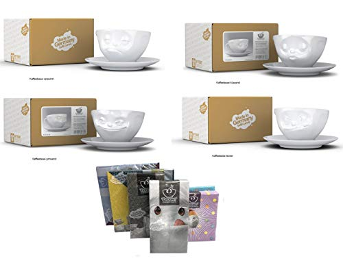 FIFTYEIGHT PRODUCTS Kaffeetassen 4er Set + Servietten, 200 ml, GRINSEND+LECKER+VERPENNT+KÜSSEND