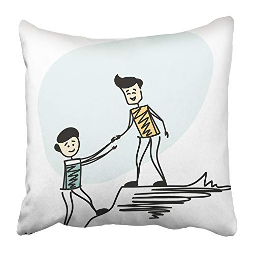 AEMAPE Throw Pillow Cases Amigo Pareja Hombre Senderismo Ayudarse mutuamente Ayudando a Trabajar en Equipo Dibujo de Dibujos Animados Levante Líder Logro 40X40 Cm Funda de cojín
