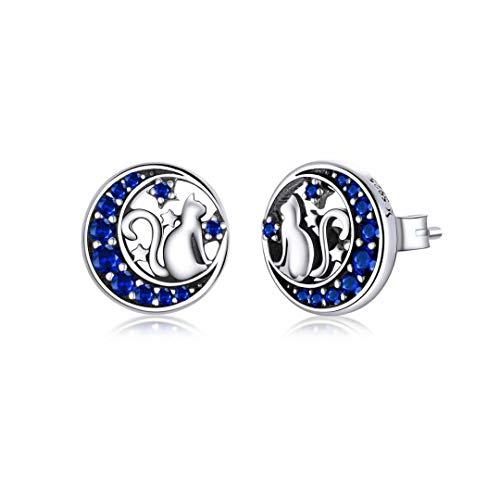 Qings Katze Ohrstecker Klein Sterling Silber 925 Ohrstecker Hypoallergene Ohrringe mit Mond Sterne Blaue Zirkonia Ohrstecker Geschenke für Mädchen Frauen Damen