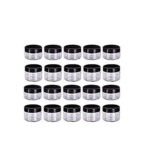 Nailart Döschen,Worsendy Plastik Döschen Leerer Kosmetikbehälter mit Deckel für Cremes Muster Makeup Speicher,Döschen Töpfe Kosmetik Makeup Krug Runde Creme Behälter 20 Stück (Schwarz, 15 g)