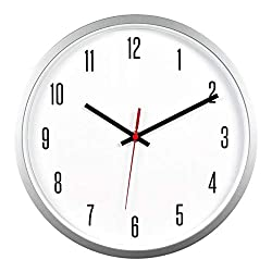 Bekith 12 Inch Wall Clock Modern Silent Non Ticking Quartz Decorative Classic Digital Round Easy to Read Home/Office/School Clock,Silver