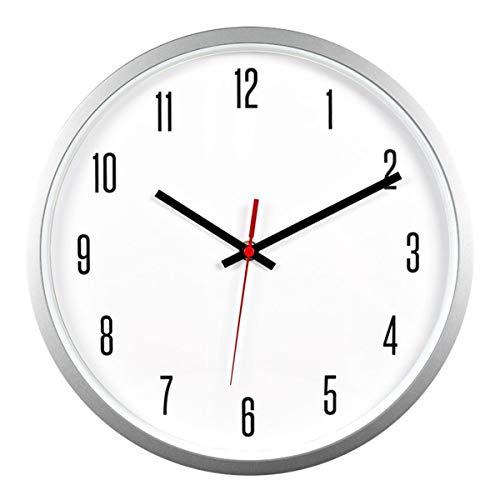 Bekith Reloj de Pared de 30 cm Moderno Silencioso de Cuarzo Decorativo Clásico Digital Redondo Fácil de Leer, para el Hogar, la Oficina el Colegio, Plateado