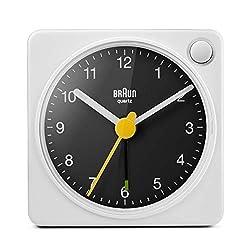 Braun Classic Travel Analogue Alarm Clock with Snooze and Light, Compact Size, Quiet Quartz Movement, Crescendo Beep Alarm in White and Black, Model BC02XWB.