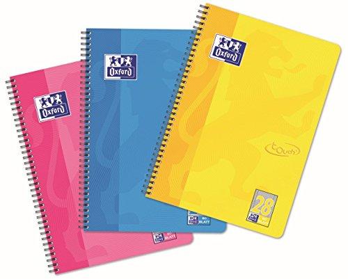 OXFORD Touch Collegeblock A4, kariert mit Rand, 80 Blatt, pink, blau, gelb, 10er Pack