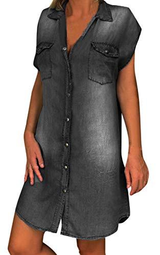 MAGIMODAC Jeanskleid Damen Jeanskleider Denim Jeans Minikleid Hemdkleid Blusenkleid Hemdblusenkleid Freizeitkleid Tunika Kleider (2-Schwarz, 46)