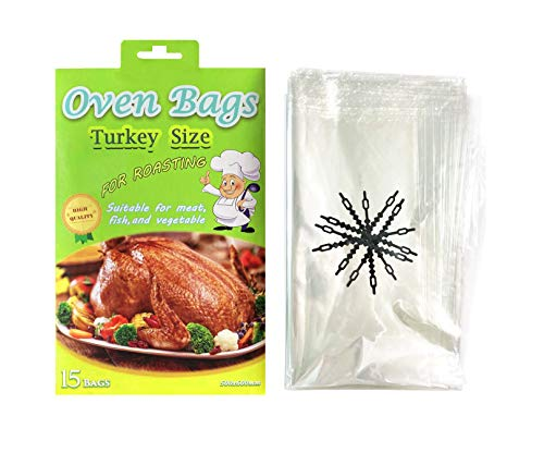 15 Counts Large Turkey Bags, Oven Bags for Cooking,Meat Roasting Bags Safe for Meats Turkey Fish Vegetables - 20×24 IN (1 PACK)