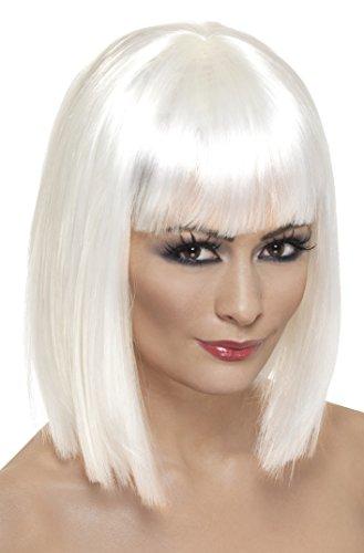 Smiffys Perruque glam, blanche, cheveux courts, dégradés avec frange Taille Unique