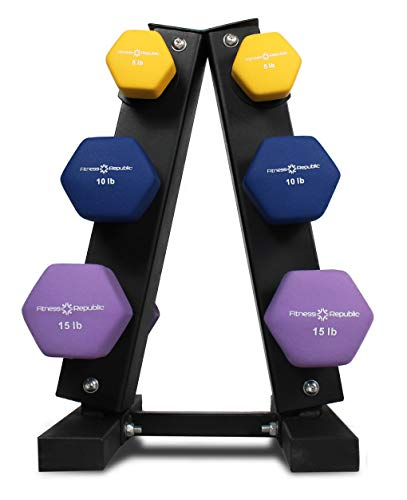 Fitness Republic Solid Steel Dumbbell Rack Holder, A-Frame Dumbbell Storage Racks, Free Weights Stand for Home Gym Exercise, Neoprene Dumbbells Pairs (5lb, 10lb & 15lb) with 3 Tier Rack Combo