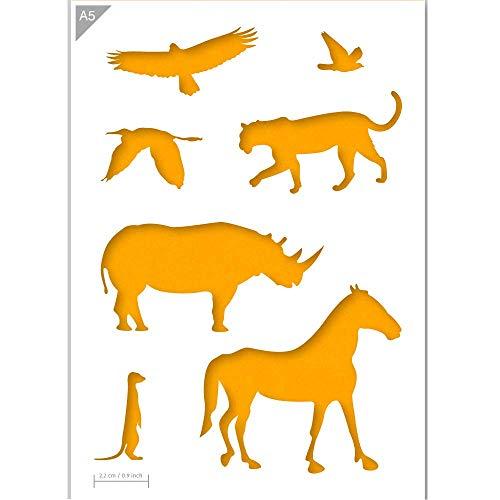 QBIX afrikanische Tiere Schablone - Zebra, Nashorn, Leopard, Erdmännchen, Vogel Schablone - A5 Größe - wiederverwendbare Kinder freundlich DIY Schablone zum Malen, Backen, Basteln, Wand, Möbel