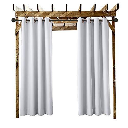 ChadMade Outdoor Wasserdicht Vorhänge Ösenvorhang Weiß Grau 132B x 259H cm Für Veranda,Pergola, Cabana, überdachte Terrasse, Gazebo, Dock und Strand-Haus (1 Panel).