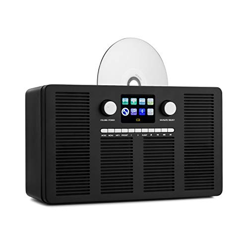 auna Vertico - Internetradio mit CD-Player, SmartRadio: Internet/DAB+ / FM-Radiotuner, Slot-In CD-Player, Bluetooth-Funktion, App-Control via UNDOK, 2,4