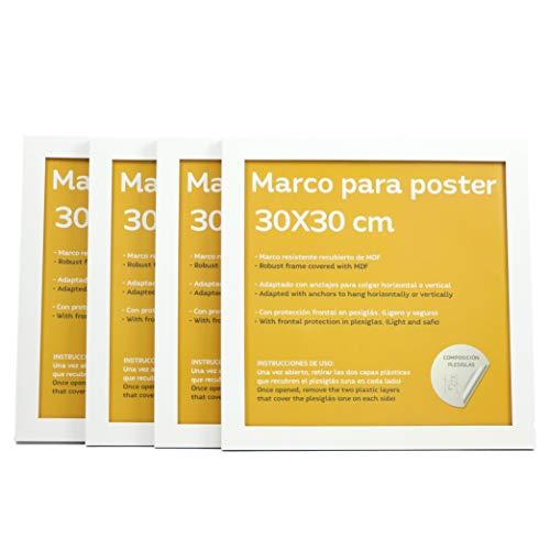 Set de 4 Marcos blancos para fotos, posters, láminas, diplomas. Tamaño(30x30 cm).Robustos de MDF y frontal de plexiglas.Marcos blancos para colgar de alta calidad.