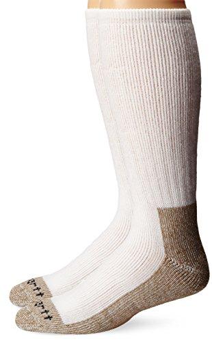 Carhartt Men's 2 Pack Full Cushion Steel-Toe Synthetic Work Boot Socks, White, Shoe Size: 6-12