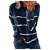 Sudaderas casuales a rayas térmicas cuello redondo manga larga camisetas sueltas