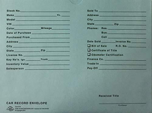 A Plus Car Record Envelope #19 Vehicle Dealer Jackets, 100 Quantity, Blue (P15)