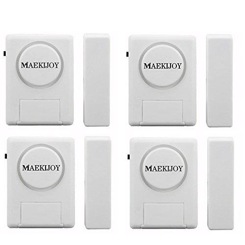 Kit de alarma para ventana / puerta 100dB, [4 piezas] MAEKIJOY Mini alarma antirrobo accionada magnéticamente para puertas o ventanas, Seguridad en el hogar Guarder