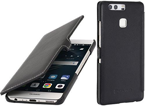 StilGut Book Type Case mit Clip, Hülle Leder-Tasche für Huawei P9. Seitlich klappbares Flip-Case aus Echtleder für das Original Huawei P9, Schwarz Nappa