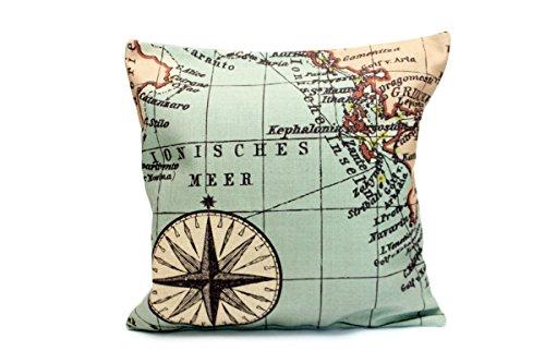 Kissenbezug Ebba 40x40cm Kissenhülle Vintage Kompass Landkarte Atlas Weltkarte Nostalgie Antik Leinen Optik Kissen alte Schrift Dekokissen