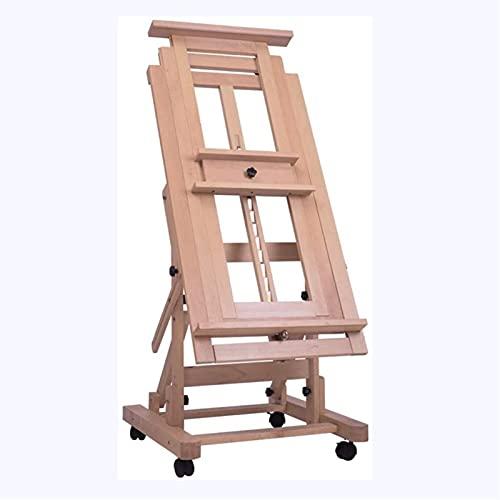 Caballete portátil Multifuncional Soporte de pie Soporte de piso Caballete de madera maciza se puede elevar y bajar el salchiche de bocinas con una sola mano 58x65x150cm, soporte de exhibición multifu