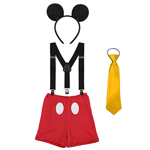Disfraz de Mickey Infántil Bebé Niños Niñas Lindo Ratón 1er/2do/3er Cumpleaños Halloween Traje Algodón Calzoncillos+Tirantes+Corbata+Diadema de Oreja Fiestas Carnaval 001 Rojo 12-18 Meses