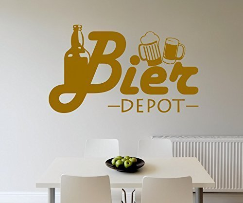 Wandtattoo Bier Flasche Depot Küche Bar Wand Sticker Aufkleber Wandbild 3D641, Farbe:Gold glanz;Breite vom Motiv:50cm