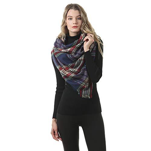 Oukeep Herbst Und Winter Damen Europäische Und Amerikanische Mode Polyester Plaid Quadratischen Schal Doppelseitig Gebürsteten Schal Täglichen Büro Urlaub Schal