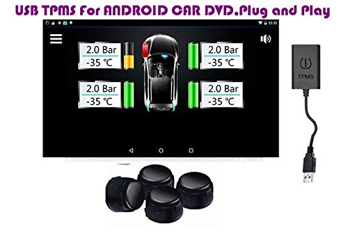 TF USB Reifendruck Kontrollsystem TPMS für Android Autoradio Navi DVD Multimedia mit 4 externen Sensoren