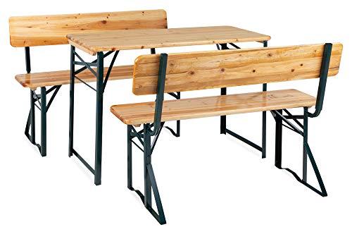 Stagecaptain BBDL-119 Hirschgarten Bierzeltgarnitur mit Lehne für Balkon - Kurze Version mit 119 cm Länge - 1x Tisch, 2X Bank - Holz - klappbar - Natur