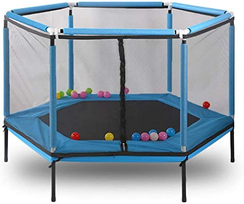 XUDREZ 62' Hexagon Kids Trampoline with Safety Enclosure Net, Spring Pad, Heavy Duty Frame and Balls for Indoor and Outdoor, Bounce Jumper Fitness Equipment (Blue)