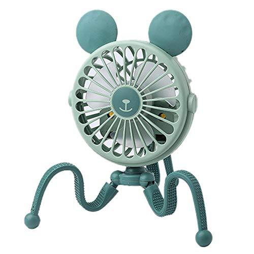 CareMont Pulpo de Dibujos Animados Bonito Ventiladores USB PortáTiles Soporte de Cochecito de Bebé de Mano Ventilador Silencioso Ventiladores con Soporte (Oreja Redonda Verde)