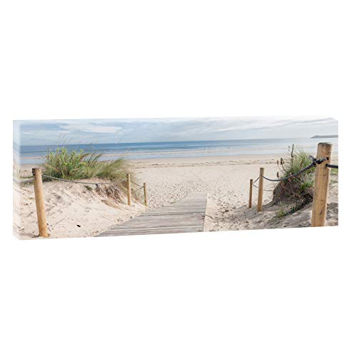 Querfarben Bild auf Leinwand mit Landschaftsmotiv Holzsteg zum Meer | 50 x 150 cm, Farbig, Wandbild, Leinwandbild mit Kunstdruck, Nordseebild mit Strandmotiv auf Holzrahmen gespannt, 50x150 cm