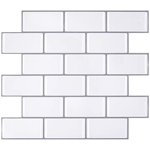 FAM STICKTILES Peel and Stick Tile Backsplash for Kitchen/Bath, Stick on Tile Stickers, Self Adhesive Wall Tiles, Subway Tile Stickers for Kitchen 11' x 10'(4 Sheets)