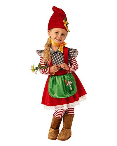 Horror-Shop Kleines Gartenzwerg Mächen Kinderkostüm für Karneval und Halloween XS