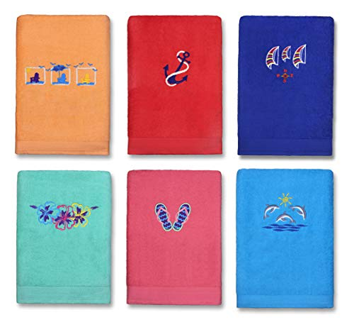 Kaufman - Embroidered Velour Beach and Pool Towel 6-Pack 30in X 60in 100% Cotton