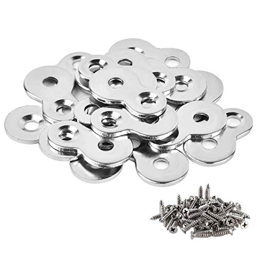 30 Pack Figure 8 Steel Desk Top Fastener Clip with Screws - Heavy Duty Figure-Eight Fasteners Clips Attaching a Table, Solid Steel, 12 Gauge