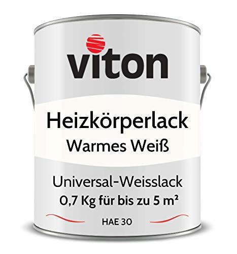 VITON Heizkörperlack - 0,7 Kg - Seidenmatt Weiss - UV- & Hitze-beständig - Heizkörperfarbe, Heizungsfarbe, Heizungslack - HAE 30 - RAL 9010 Reinweiss (Warmes Weiss)
