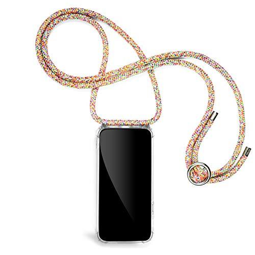 Jalouza® Cadena para teléfono móvil compatible con Apple iPhone X/XS, cordón en arco iris con funda para teléfono móvil, collar para el cuello, fabricado en Berlín
