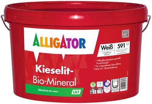 Alligator-Kieselit-Bio-Mineral - Wandfarbe weiß - Deckkraftklasse 1 - Innenwandfarbe (12,5 Liter)